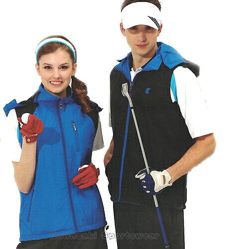 【日本KAWASAKI】男女運動休閒連帽雙面穿背心(寶藍#K238A)