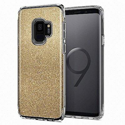 【Spigen】GalaxyS9SlimArmorCrystal複合式防震保護殼琥珀金粉晶