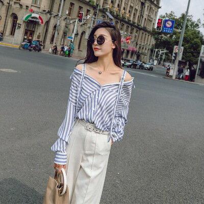 韓系女裝藍白條紋一字肩兩穿露肩長袖襯衫樂天時尚館。預購