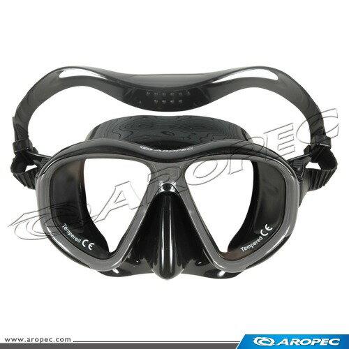 【【蘋果戶外】】AROPECM2-CD24-BKGY黑潛水面鏡台灣製亞洛沛浮潛矽膠面鏡可另外選購近視鏡片TUSAIST可考慮