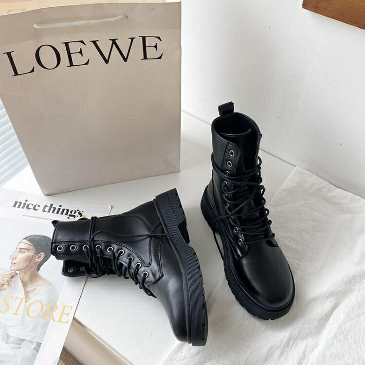 馬丁靴系列 瘦瘦靴ins潮馬丁靴女2020年新款秋鞋百搭秋冬加絨英倫風短靴子黑