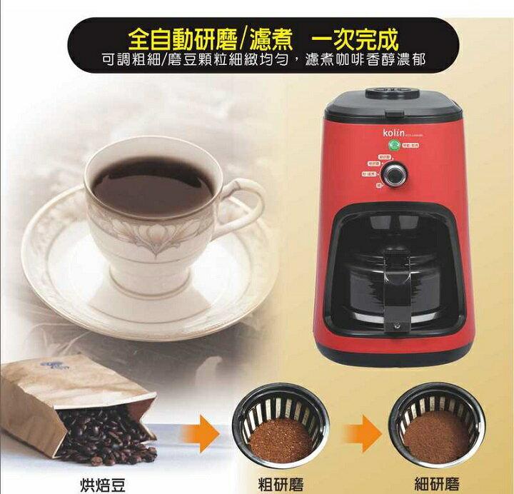 【Kolin歌林】4人份全自動磨豆咖啡機 KCO-LN406B