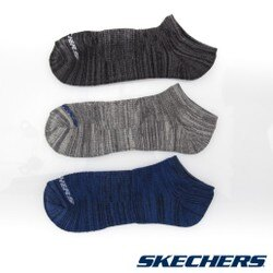 【SKECHERS男襪 促銷95折】SKECHERS(男) 運動踝襪 一組三雙 黑x灰x海軍藍 - S107867-459