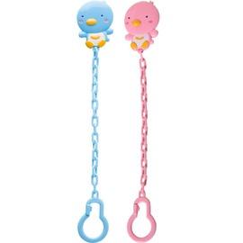 PUKU藍色企鵝 - PUKU BABY造型奶嘴鏈 (水藍/粉紅)
