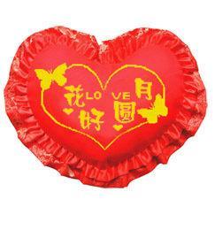 海開牡丹十字繡 抱枕 心型枕 吉祥如意 祝福 結婚 紅色 臥室 婚慶