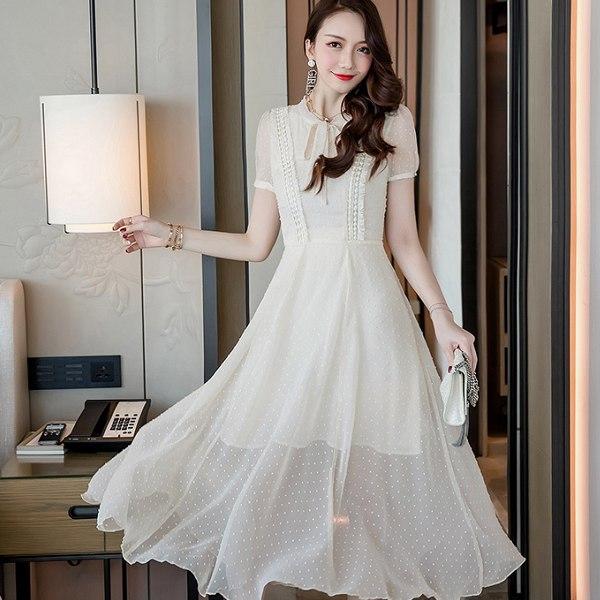 灰姑娘[19828-QF]綁帶蝴蝶結領大裙襬圓點雪紡度假長洋裝