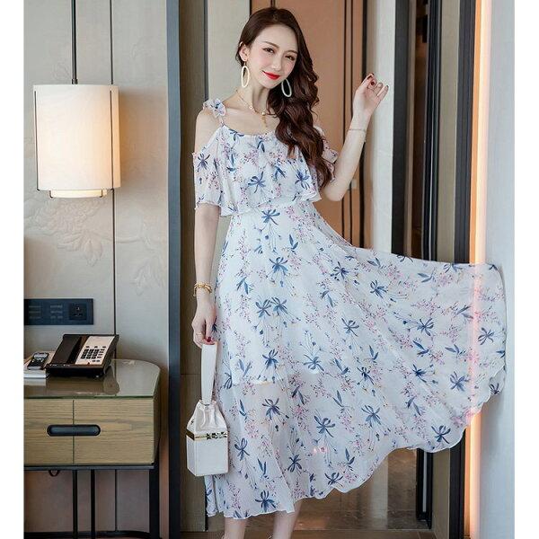 灰姑娘[19830-QF]兩穿式甜美花朵印花吊帶夏天度假長洋裝