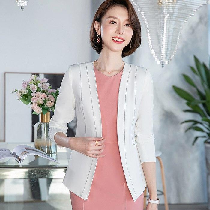 白色流線領口線條顯瘦西裝外套[20S118-PF]灰姑娘