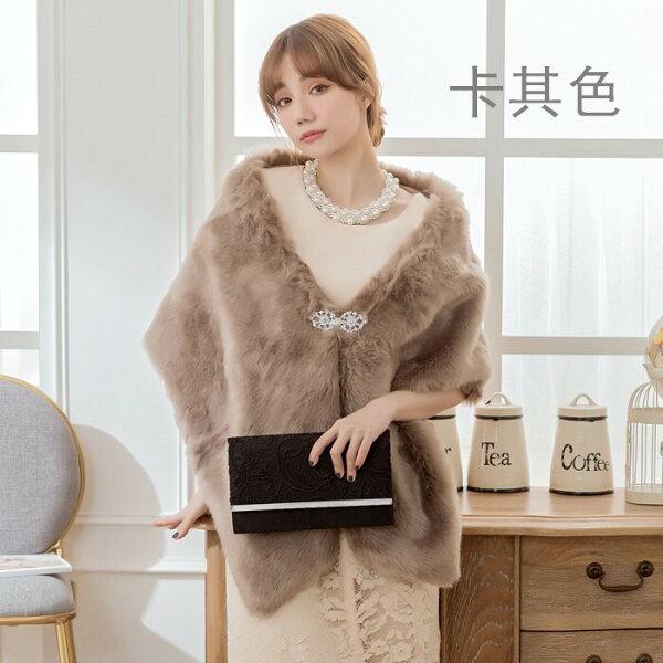 灰姑娘衣著館:灰姑娘[3512-S]長款加厚仿兔毛皮草保暖禮服搭配披肩~