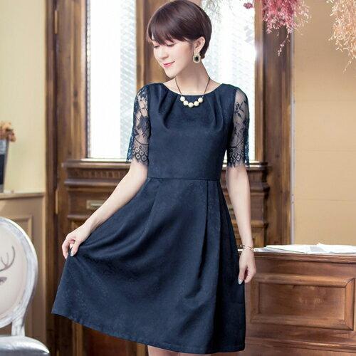 灰姑娘[88035-S]睫毛蕾絲袖拼接緹花布名媛小禮服洋裝