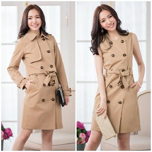 灰姑娘[88059-S]中大尺碼*兩件套英倫風排扣綁帶風衣外套洋裝(短外套+洋裝)