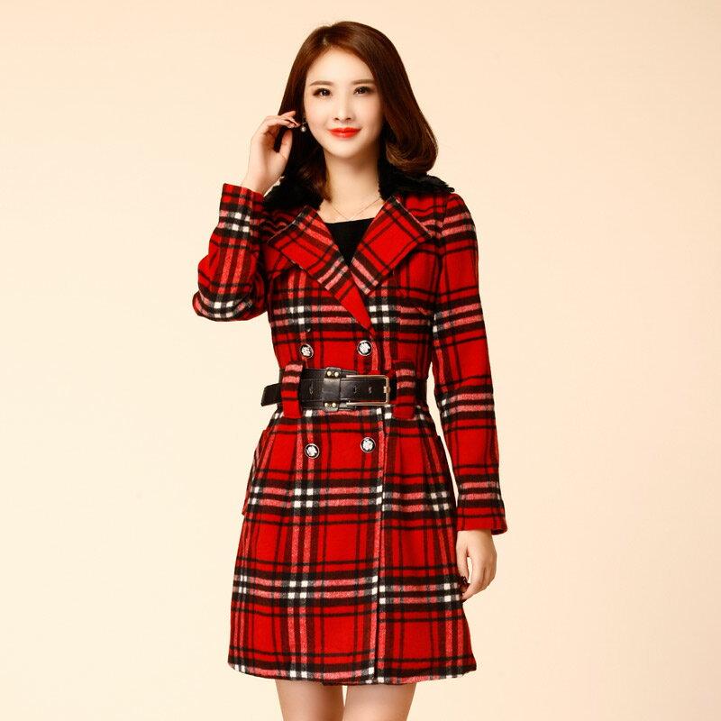 灰姑娘[8806-JK]英倫風奢華毛領格子排釦大衣外套(附腰帶,毛領可拆)