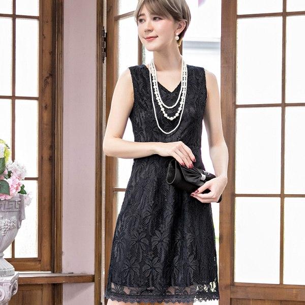 灰姑娘[88089-S]性感V領滿版花朵蕾絲無袖小禮服洋裝~宴會穿搭