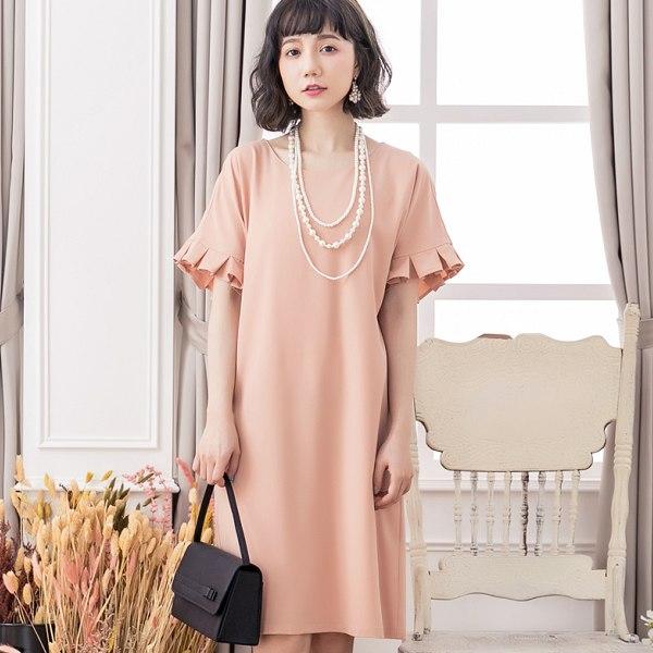 灰姑娘[88108-S]圓領純色荷葉邊短袖寬鬆洋裝