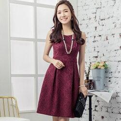 灰姑娘[88112-S]奢華高雅歐風無袖提花洋裝小禮服