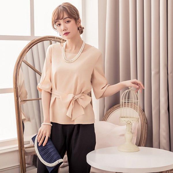 灰姑娘[88115-S]甜美蝴蝶結造型五分袖綁帶兩件套(上衣+褲子)