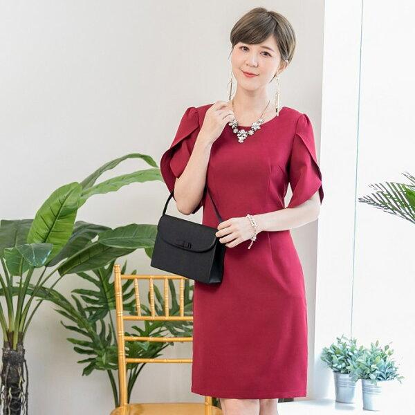 灰姑娘衣著館:灰姑娘[88118-S]優雅交叉花瓣袖純色名媛洋裝
