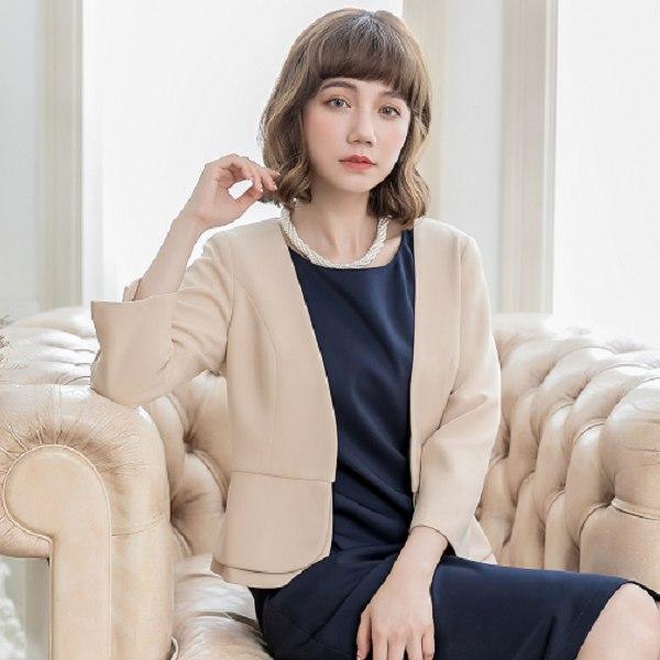 灰姑娘[88150-S]優雅韓版開襟七分袖層次下擺西裝小外套