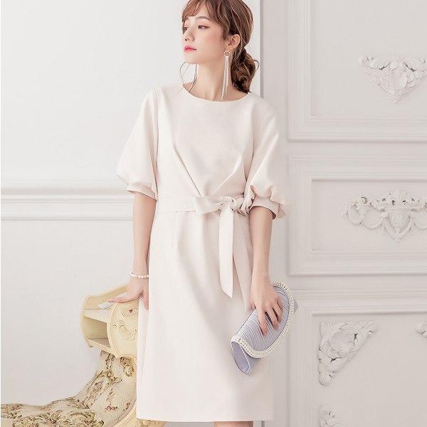 灰姑娘[88163-S]公主風圓領泡泡五分袖腰綁帶洋裝