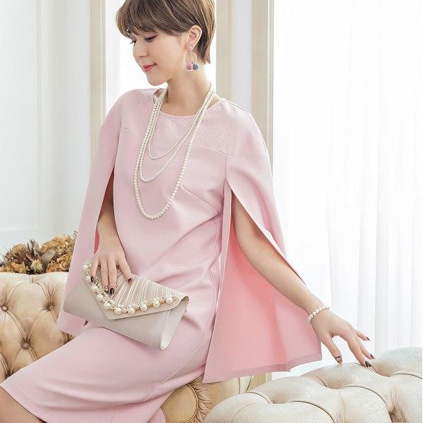 灰姑娘[88165-S]時尚斗蓬式開衩長袖名媛洋裝