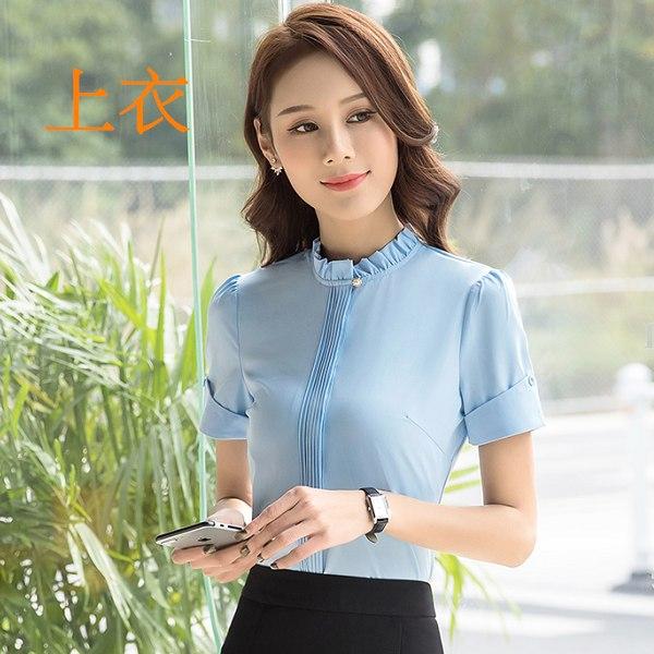灰姑娘[8A035-PF]花邊立領胸前摺線造型OL短袖襯衫~上班通勤面試