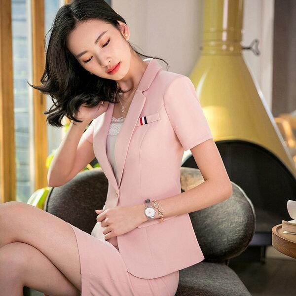 灰姑娘[8S011-PF]法式個性口袋OL短袖西裝外套~上班面試