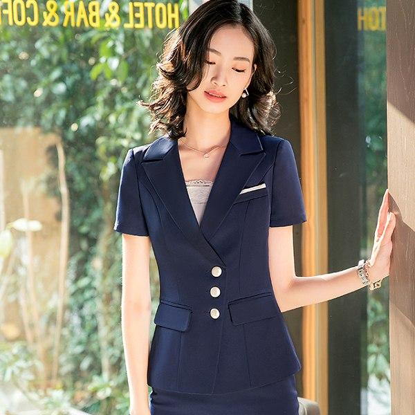 灰姑娘[8S013-PF]翻領直排三粒釦OL短袖西裝外套~上班面試
