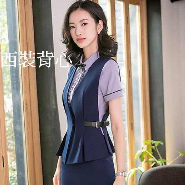 灰姑娘[8S027-PF]V領側邊腰帶壓摺下襬OL搭配西裝背心