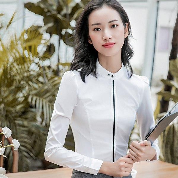 灰姑娘[8S029-PF]單色立領幹練修身OL長袖上班襯衫