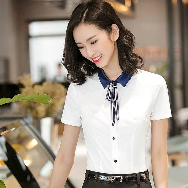 灰姑娘[8S045-PF]簡約撞色翻領OL上班短袖襯衫(無附領結)