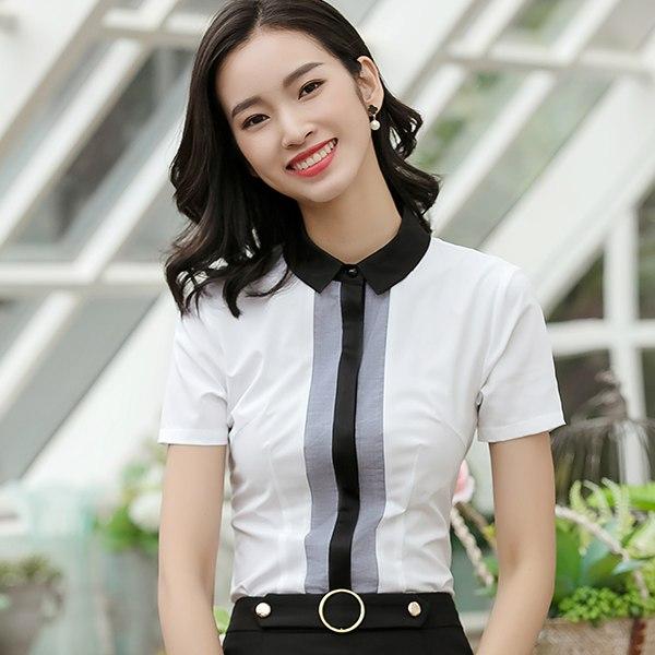 灰姑娘[8S049-PF]時尚直條撞色翻領OL上班短袖襯衫