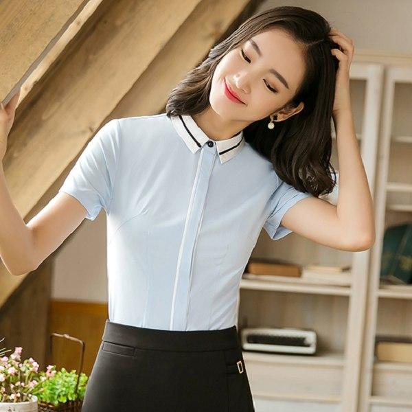 灰姑娘[8S051-PF]簡約線條暗釦式翻領OL短袖襯衫~上班面試