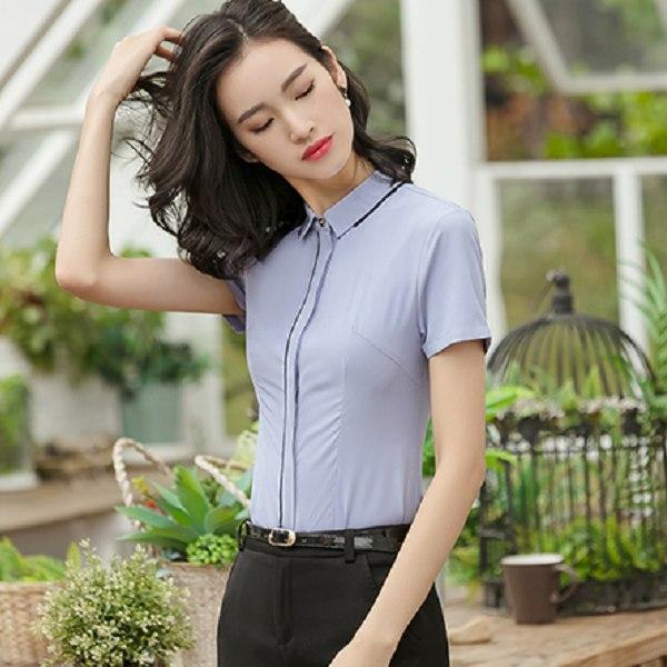 灰姑娘[8S073-PF]簡約俐落線條修飾OL短袖襯衫~上班面試