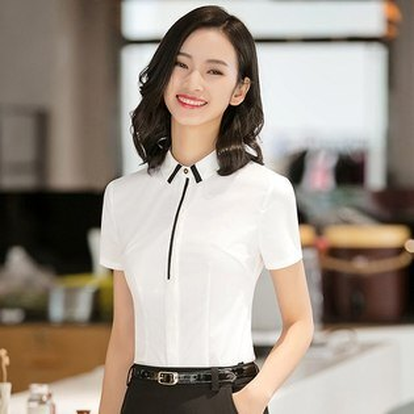 灰姑娘[8S075-PF]翻領撞色俐落線條OL通勤上班短袖襯衫