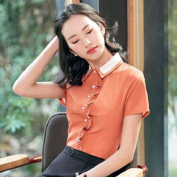 灰姑娘[8S097-PF]雙色翻領甜美荷葉邊OL短袖襯衫上衣