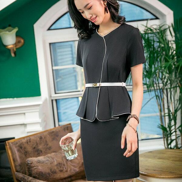 灰姑娘[8S113-PF]簡約滾邊線條假兩件OL連身裙上班洋裝