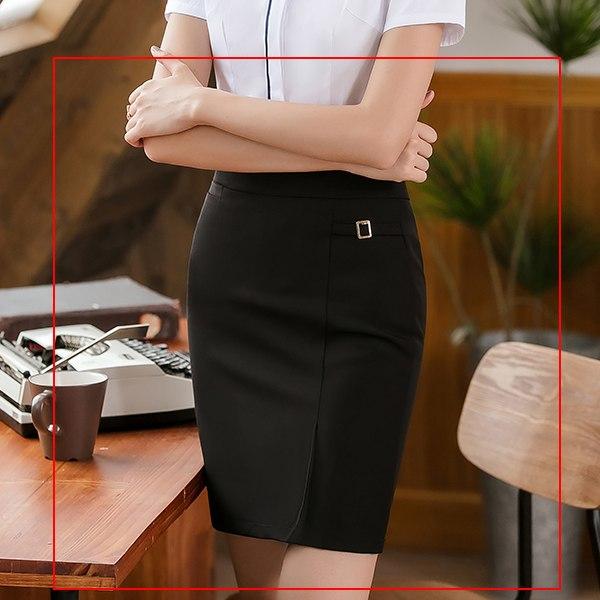 灰姑娘[8S125-PF]低調側邊小金屬釦OL純色包臀窄裙
