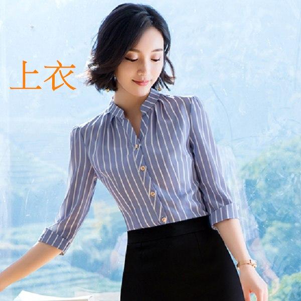 灰姑娘[8X018-PF]小V立領顯瘦條紋五分袖OL襯衫