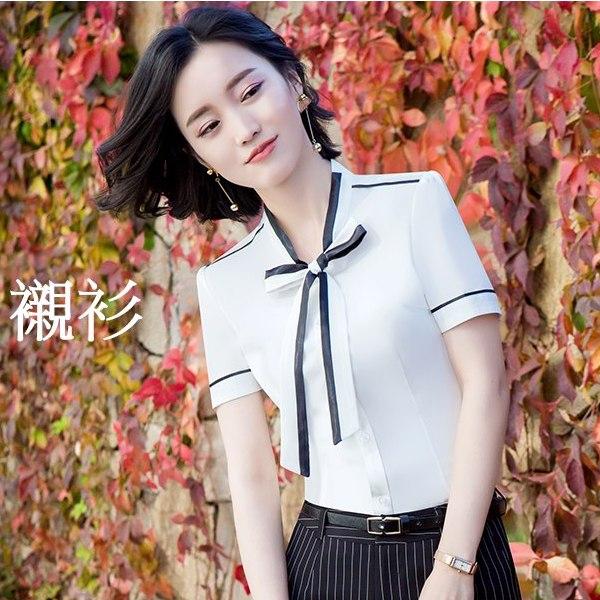 灰姑娘[8X044-PF]綁帶蝴蝶結撞色OL短袖襯衫~上班面試