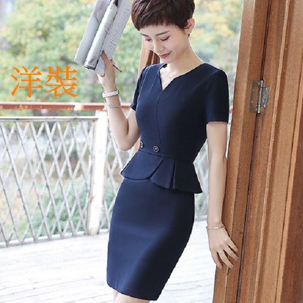 灰姑娘[8Y015-PF]V領小心機荷葉遮肚顯瘦OL短袖洋裝~上班面試