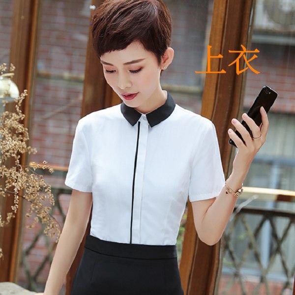 灰姑娘[8Y255-PF]撞色翻領基本款OL短袖襯衫上衣~面試上班
