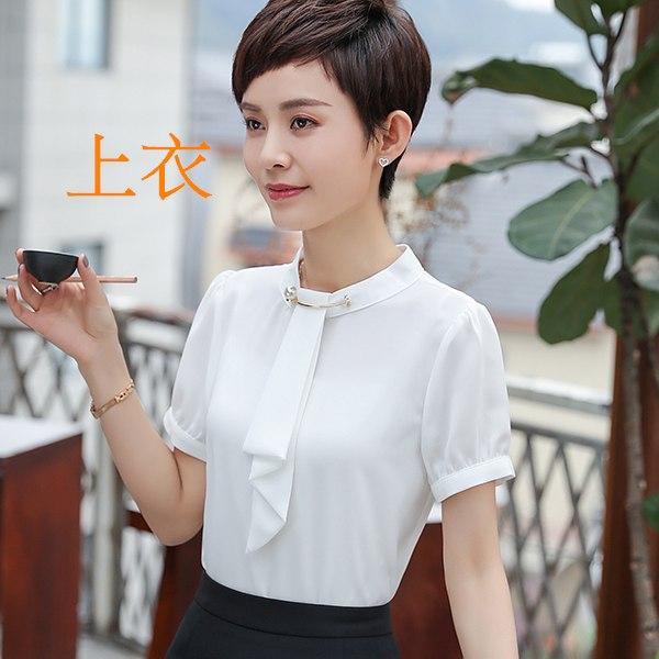 灰姑娘[8Y345-PF]氣質立領金屬扣環領巾式OL短袖襯衫上衣~上班會議面試
