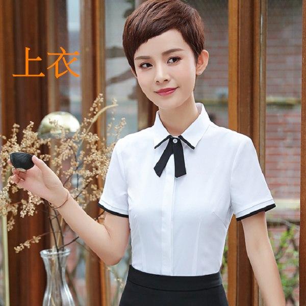 灰姑娘[8Y405-PF]簡潔配色線條氣質領結OL短袖襯衫上衣(附領結)