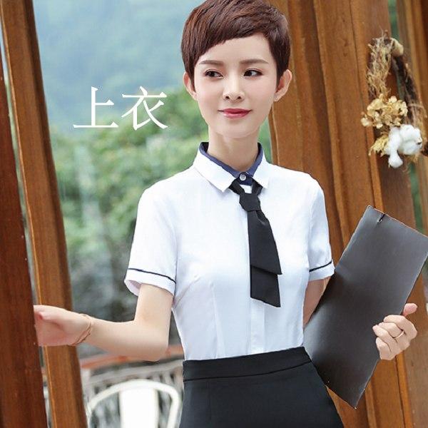 灰姑娘[8Y410-PF]清新配色職人感OL領帶式短袖襯衫上衣(含領結)