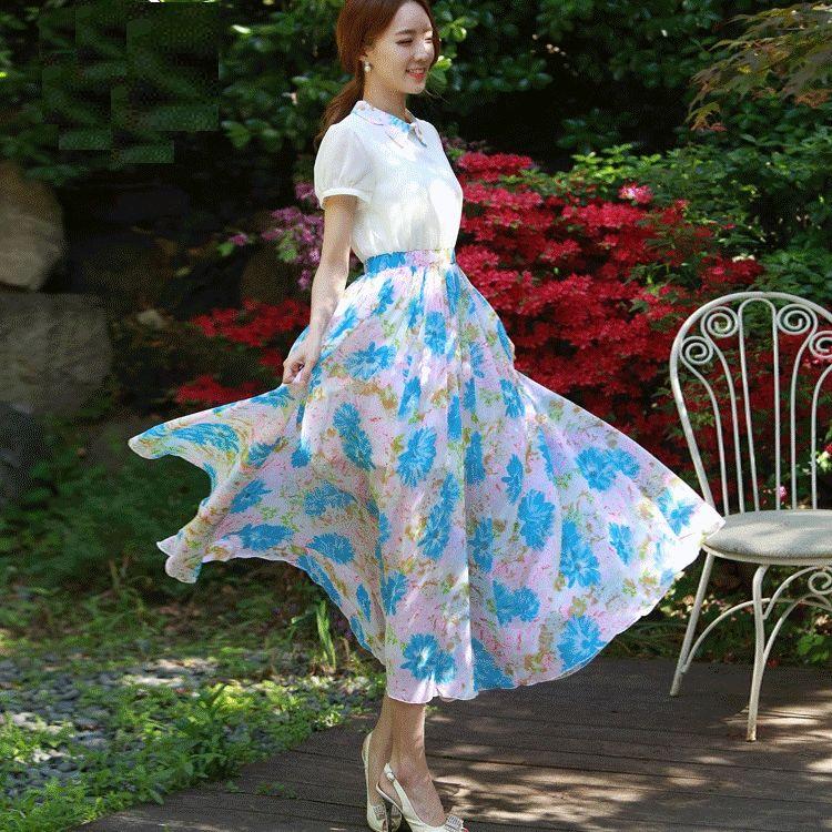 現貨M*蝴蝶造型領花朵印花大裙襬長洋裝[98393-QF]灰姑娘
