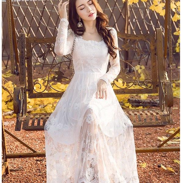 灰姑娘衣著館:灰姑娘[98626-白-QF]甜美花瓣領透膚蕾絲袖網紗長裙洋裝小禮服