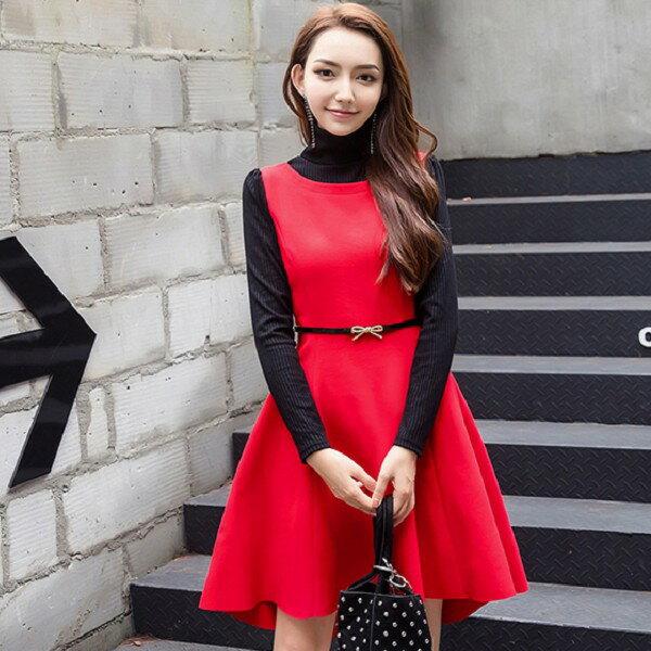 灰姑娘[98636-QF]優雅高領假兩件拼色A字大裙矲長袖洋裝