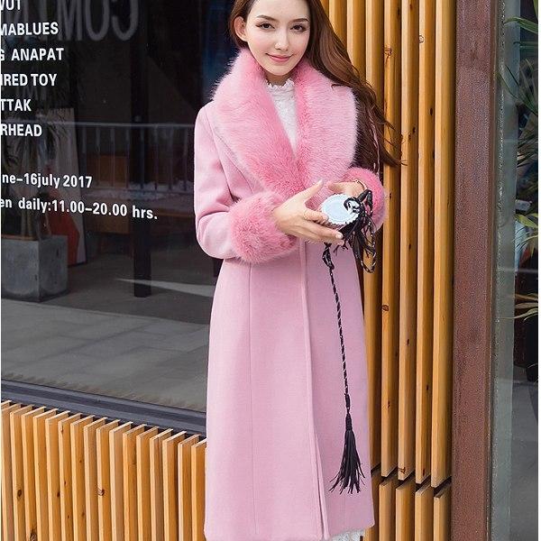 灰姑娘[98650-QF]奢華仿雪狐毛領修身保暖毛呢長款大衣外套