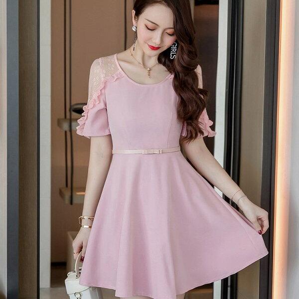 灰姑娘[98668-QF]優雅甜美氣質透視荷葉短袖A字裙襬顯瘦洋裝