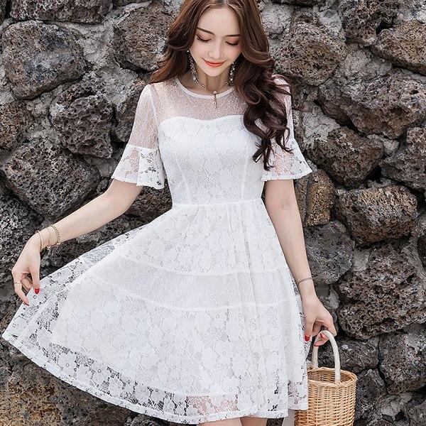 鏤空網紗蕾絲荷葉洋裝(4色,S~4XL)